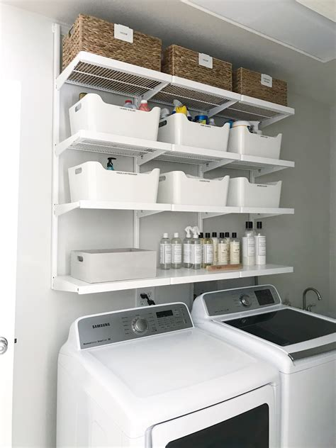 simple diy updated shelving for a small laundry room
