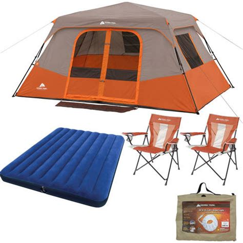 Ozark Trail 8 Person Instant Cabin Tent by Ozark Trail 8 Person Instant Cabin Tent With Airbed Led Rope Light And 2 Chairs Value
