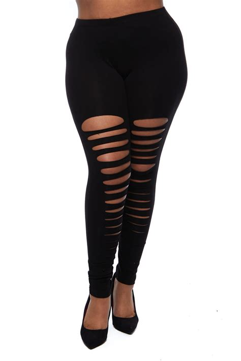 Legging Ripped plus size ripped style legging addicted2fashion