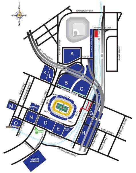 Parking Garages Near Camden Yards by Bank Of America Stadium Parking Map America Map