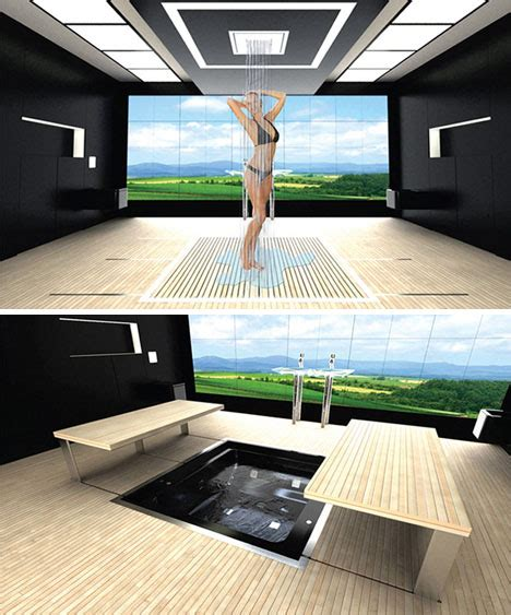 futuristic bathroom layout high tech space saving design