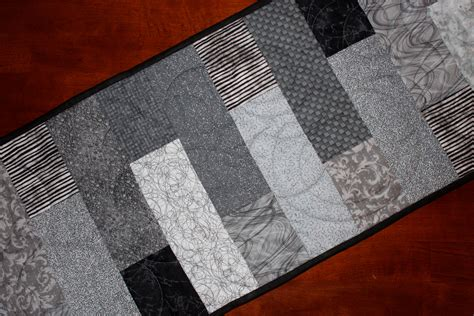 modern black gray table runner quilted large by