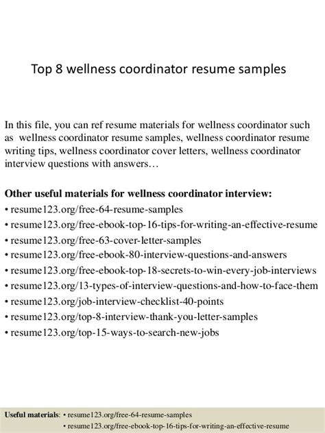 wellness coordinator resume resume ideas