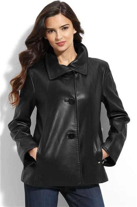 black leather swing coat ellen tracy leather swing coat in black lyst