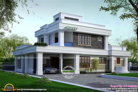 flat roof house 5 bhk flat roof house kerala home design and floor plans