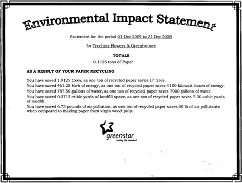 environmental statement template about trochta s flowers and greenhouses oklahoma city ok