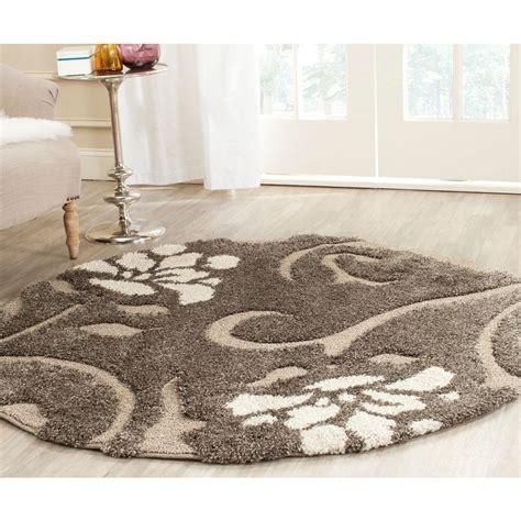 Safavieh Florida Shag Smoke Beige 4 Ft X 4 Ft Round Area 4 Foot Area Rugs