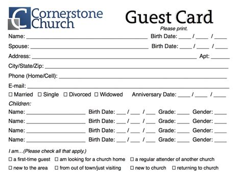 info card template free church guest card template churchmag