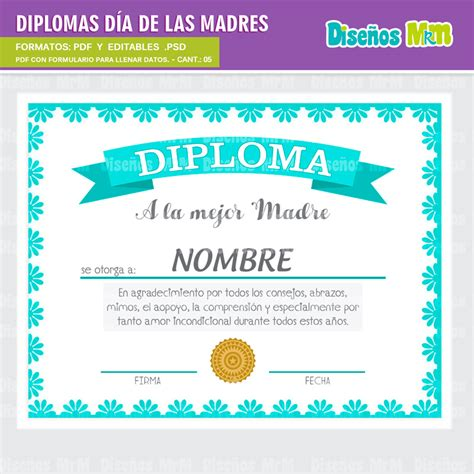 diploma madres diplomas dia de la madre listos a imprimir