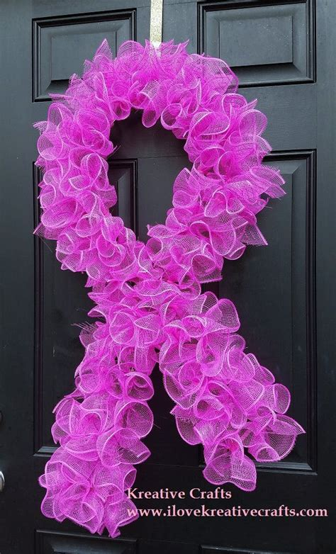 Spring Wreath For Front Door Breast Cancer Awareness Cancer Ribbon Ideas