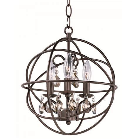 Orbit Chandelier With Crystals by Orbit 3 Light 14 Quot Rubbed Bronze Cognac Mini