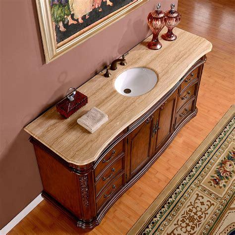 Silkroad 72 inch Antique Single Sink Bathroom Vanity Cream