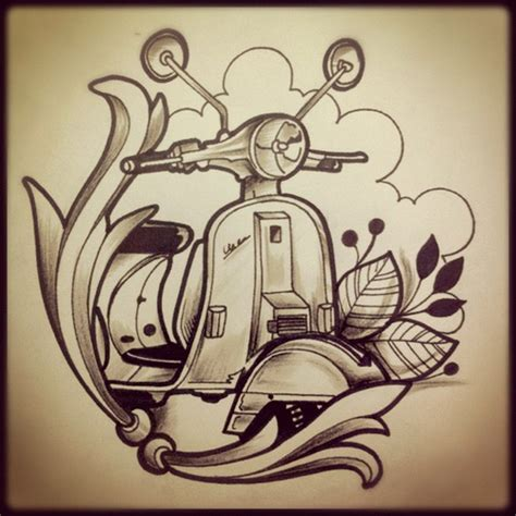 design vespa motocicle tattoo tatuaje design pen l