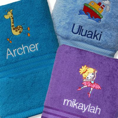 embroidered personalised bath towels for kids adults
