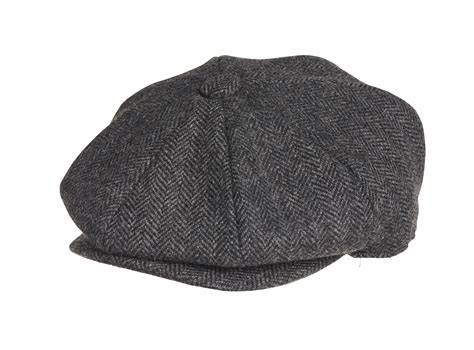 Herringbone Cap peaky blinders 100 wool black herringbone newsboy cap