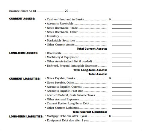 Free Sample of Balance Sheet Template and Format : vlashed