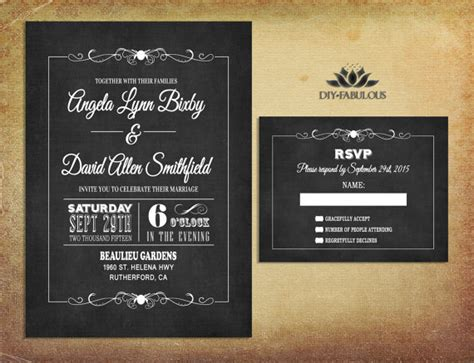 invitation design vintage chalkboard wedding invitation printable retro wedding