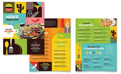 menu layouts templates mexican food cantina menu template design