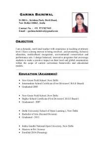 Resume Format For Teachers In India by Resume Format For School Teachers In India