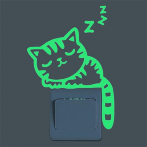 Sticker Fluorescent Stiker Fosfor Glow In The Dolphin Lumba Lumba bright home decoration luminous diy cat switch sticker glow in the living