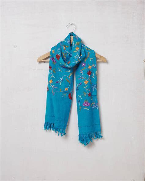 Pashmina Xhm207 Pashmina Exclusive Wool pashmina wool embroidered scarf by vida vida notonthehighstreet