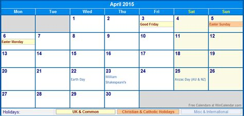 printable calendar 2015 with uk holidays april 2015 uk calendar with holidays for printing image