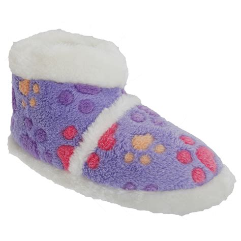 paw slippers childrens paw patterned boot slippers