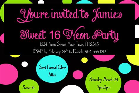 neon sweet 16 birthday invitation template 4x6 by luckybean33