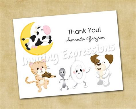 Thank You Letter To Nursery Nursery Rhyme Thank You Note Cards Baby Shower Thank You
