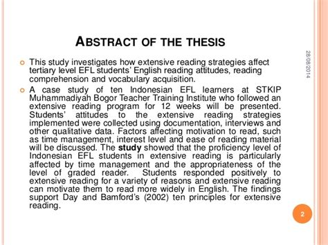 thesis abstract about reading comprehension presentasi sidang tesis uhamka 28 agustus 2014