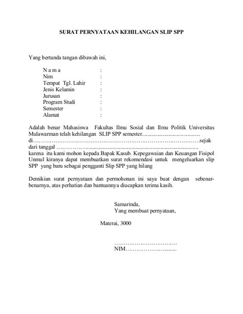 format surat pernyataan kehilangan askes surat pernyataan kehilangan slip spp