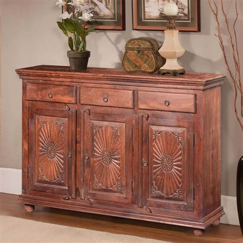 Wood Sideboard by Traditional Sunburst Reclaimed Wood 3 Drawer Sideboard Cabinet