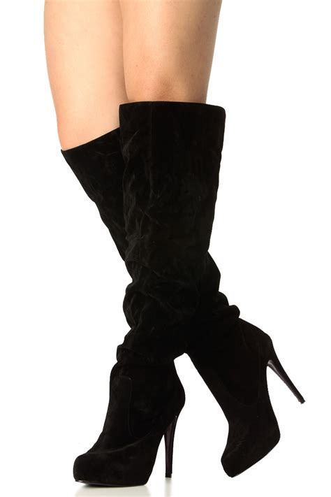 black faux suede knee high platform high heel boots