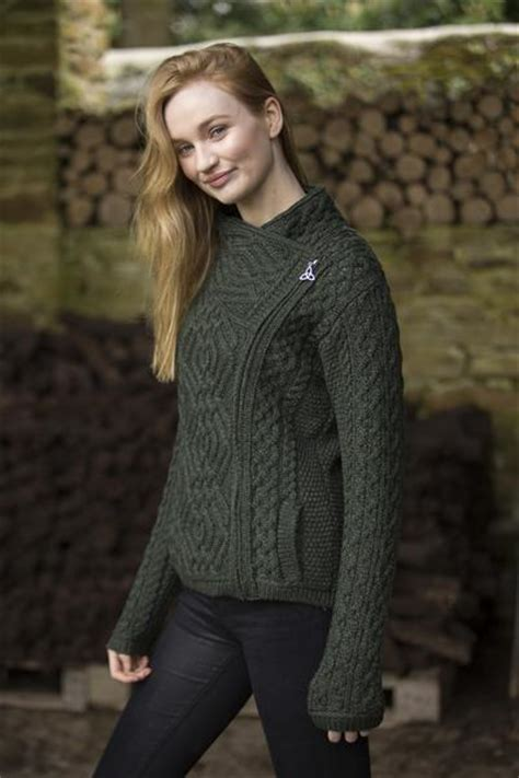 cable knit side zip jacket aran sweaters direct