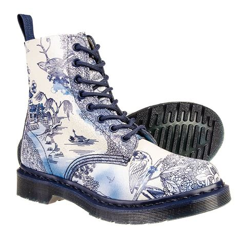 blue pattern dr martens dr martens pascal willow pattern boots blue white ebay
