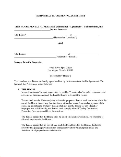 Agreement Letter For House Rent 5 House Rental Agreement Template Teknoswitch
