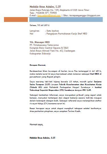 Contoh Kop Surat Lamaran Pekerjaan by Surat Lamaran Kerja Hyerielfishy