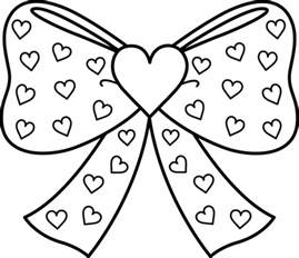 bow coloring pages bow with hearts coloring page free clip