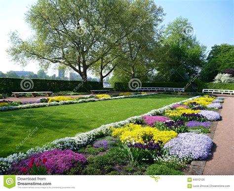 colorful flower garden colorful flower garden in dresden stock photo image