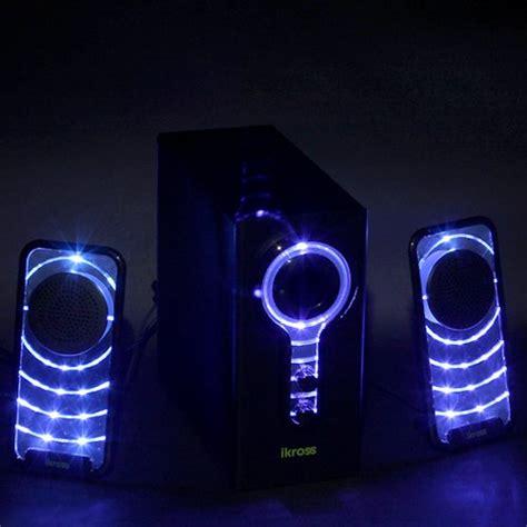 Led Light Speakers by Ikross 2 1 Blue Led Satellite Speaker Stereo Sound System