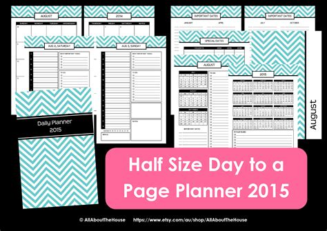 printable day planner pages 2015 new half size printable planners for 2015