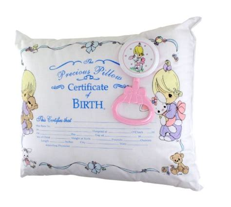 precious moments pillow precious moments baby birth certificate pillow rattle gift
