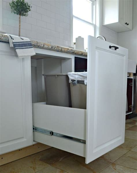 kitchen cabinet recycle bins easy diy trash drawer for the kitchen