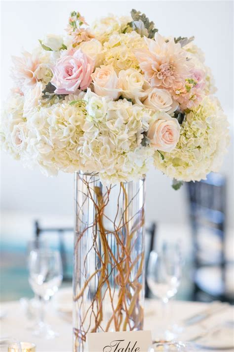 Centerpieces Wedding Flowers by Blush And White Centerpiece Dahlias Hydrangea