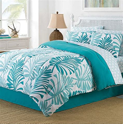 beach comforter sets king turquoise palm leaves tropical beach king comforter set 8