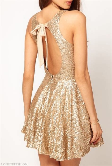 new year 2015 wear gold backless dress