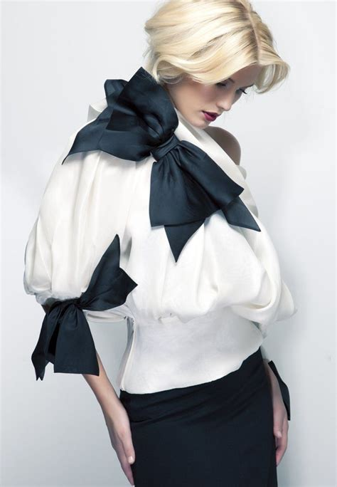 Timeless Fashion At Sielian Vintage Apparel by Vintage Christian Couture White And Black Bow Blouse