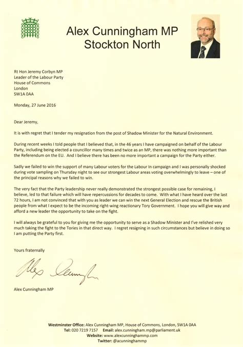 Bank Letter Northumbria stockton mp alex cunningham resigns from the labour