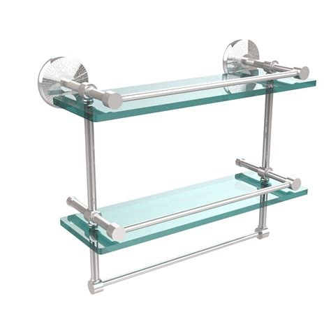 Bathroom Glass Shelves With Towel Bar Allied Brass Monte Carlo 16 In L X 12 In H X 5 In W 2 Tier Clear Glass Bathroom Shelf With
