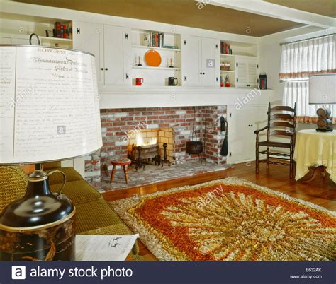 early home decor 1960s interior of living room with shag area rug fireplace
